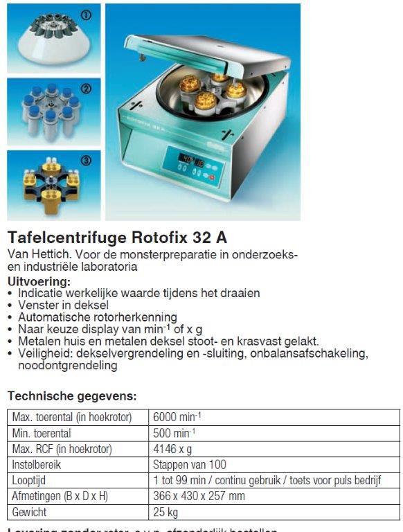 50051 centrifuge rotofix 32 a met uitzwaaimotor 90 ec341