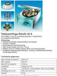 Tafel Centrifuge Rotofix 32A met uitzwaairotor 90º